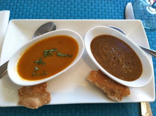 Tomato-basil and lentil homemade soup sampler