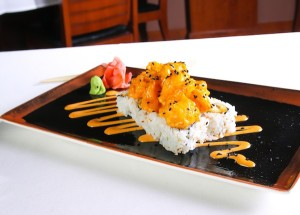 OP Dynamite Roll with Tempura Shrimp, Spicy Mayo, and Sesame Seeds