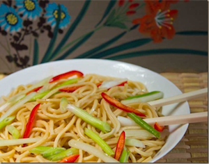 Peanut sesame noodles with Sichuan pepper