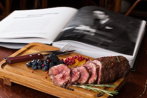 meat with berries still life business man